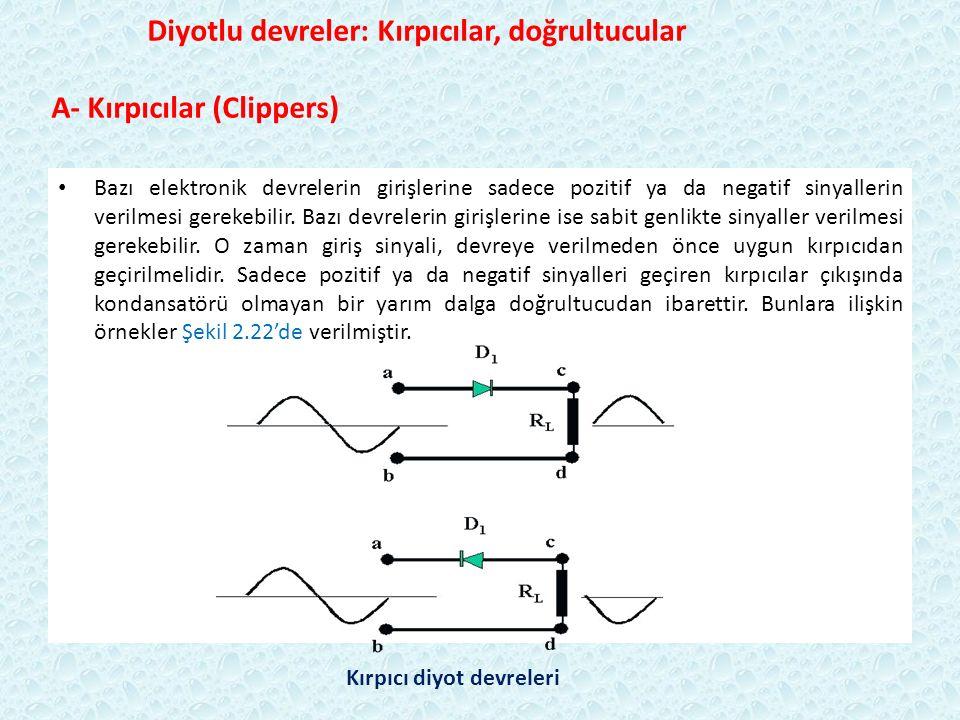 Diyotlu devreler: Kırpıcılar, doğrultucular A- Kırpıcılar (Clippers) Bazı elektronik devrelerin girişlerine sadece pozitif ya da negatif sinyallerin verilmesi gerekebilir.