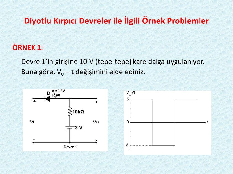 Diyotlu Kırpıcı Devreler ile İlgili Örnek Problemler ÖRNEK 1: Devre 1'in girişine 10 V (tepe-tepe) kare dalga uygulanıyor. Buna göre, V 0 – t değişimi