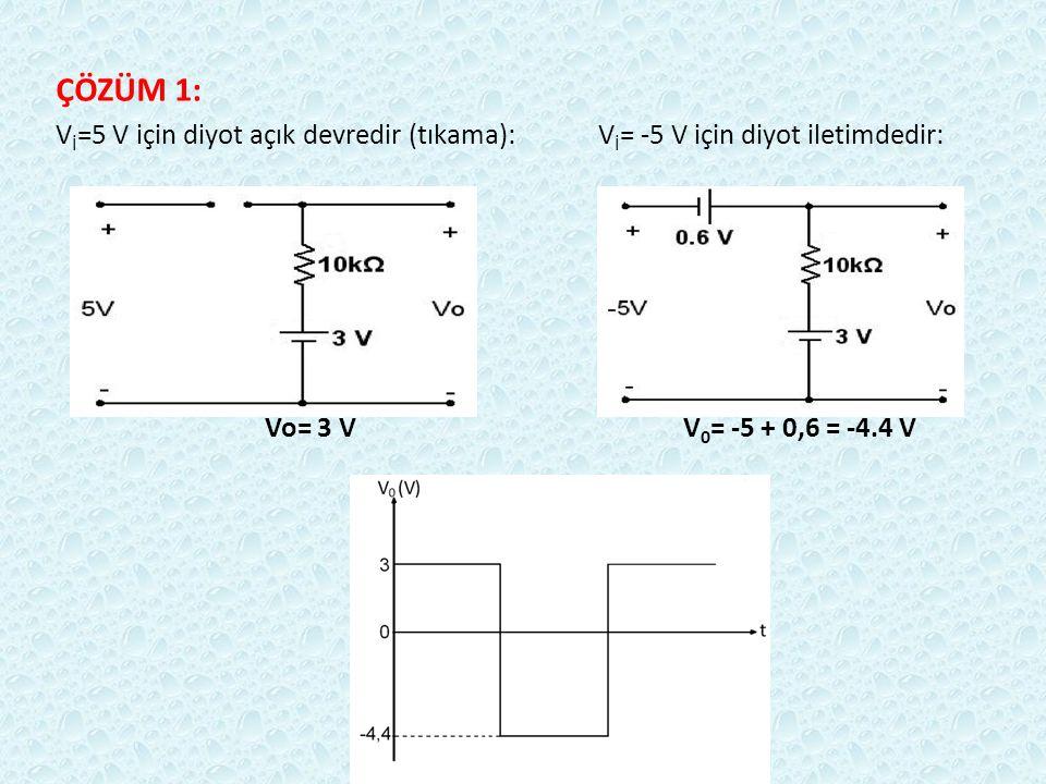 ÇÖZÜM 1: V İ =5 V için diyot açık devredir (tıkama): V İ = -5 V için diyot iletimdedir: Vo= 3 V V 0 = -5 + 0,6 = -4.4 V