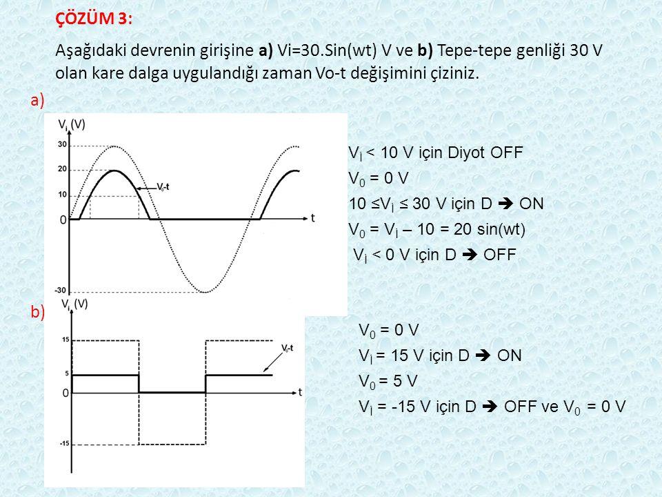 ÇÖZÜM 3: Aşağıdaki devrenin girişine a) Vi=30.Sin(wt) V ve b) Tepe-tepe genliği 30 V olan kare dalga uygulandığı zaman Vo-t değişimini çiziniz.