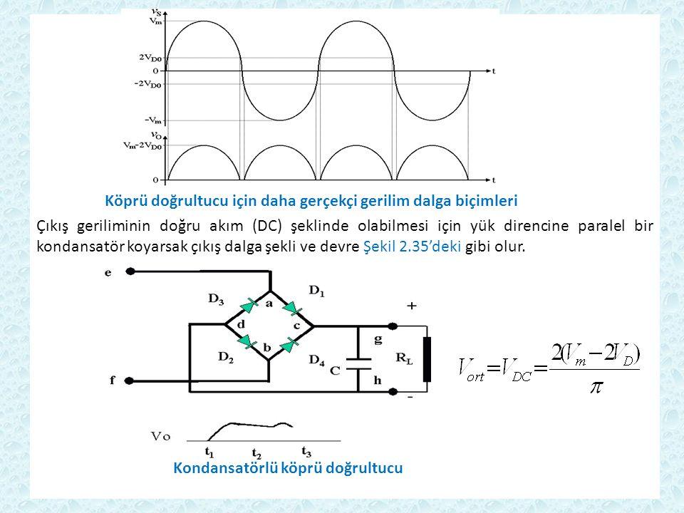 Köprü doğrultucu için daha gerçekçi gerilim dalga biçimleri Çıkış geriliminin doğru akım (DC) şeklinde olabilmesi için yük direncine paralel bir kondansatör koyarsak çıkış dalga şekli ve devre Şekil 2.35'deki gibi olur.