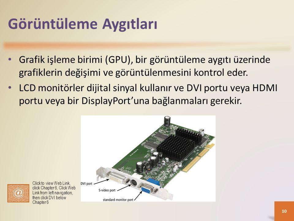 Görüntüleme Aygıtları Grafik işleme birimi (GPU), bir görüntüleme aygıtı üzerinde grafiklerin değişimi ve görüntülenmesini kontrol eder. LCD monitörle