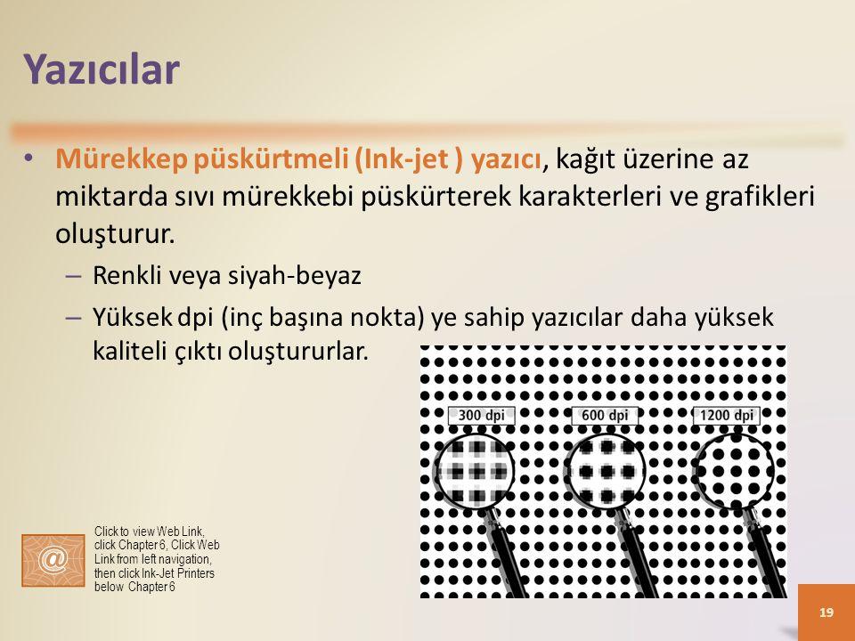 Yazıcılar Mürekkep püskürtmeli (Ink-jet ) yazıcı, kağıt üzerine az miktarda sıvı mürekkebi püskürterek karakterleri ve grafikleri oluşturur.