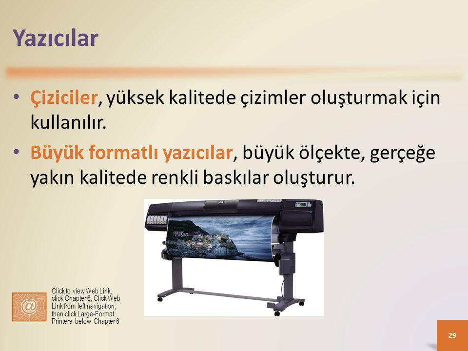 Yazıcılar Çiziciler, yüksek kalitede çizimler oluşturmak için kullanılır. Büyük formatlı yazıcılar, büyük ölçekte, gerçeğe yakın kalitede renkli baskı
