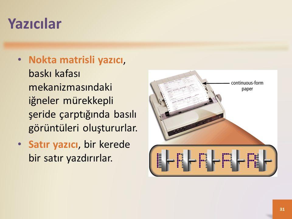 Yazıcılar Nokta matrisli yazıcı, baskı kafası mekanizmasındaki iğneler mürekkepli şeride çarptığında basılı görüntüleri oluştururlar. Satır yazıcı, bi