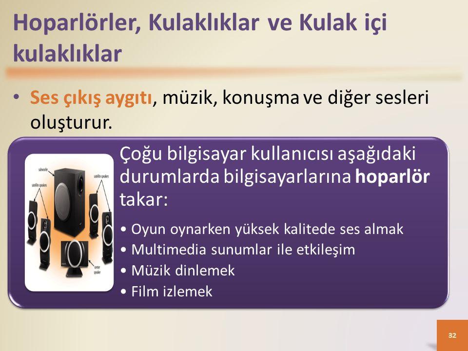 Hoparlörler, Kulaklıklar ve Kulak içi kulaklıklar Ses çıkış aygıtı, müzik, konuşma ve diğer sesleri oluşturur. 32 Çoğu bilgisayar kullanıcısı aşağıdak