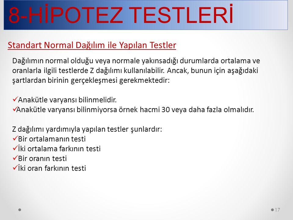 8-HİPOTEZ TESTLERİ 17 Dağılımın normal olduğu veya normale yakınsadığı durumlarda ortalama ve oranlarla ilgili testlerde Z dağılımı kullanılabilir. An