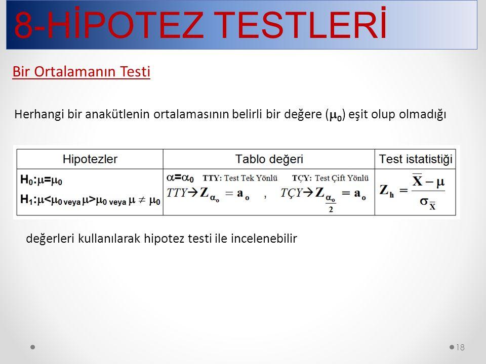 8-HİPOTEZ TESTLERİ 18 Herhangi bir anakütlenin ortalamasının belirli bir değere (  0 ) eşit olup olmadığı değerleri kullanılarak hipotez testi ile in