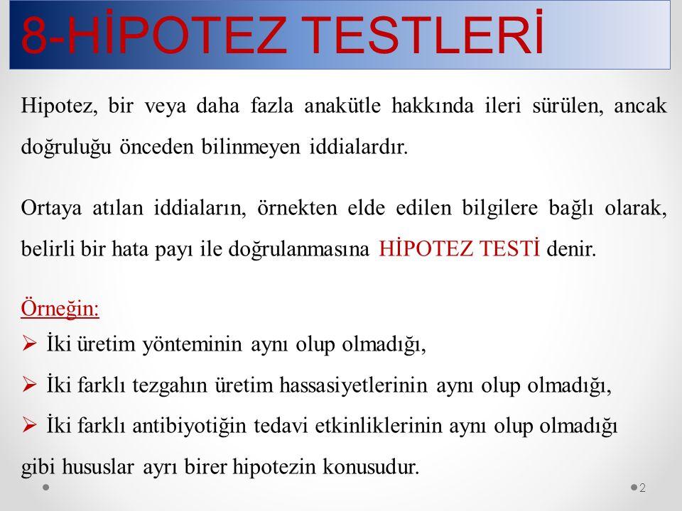 8-HİPOTEZ TESTLERİ 13 Alternatif hipotezin (H 1 ) kuruluş biçimine göre testler tek veya çift yönlü olarak adlandırılır.