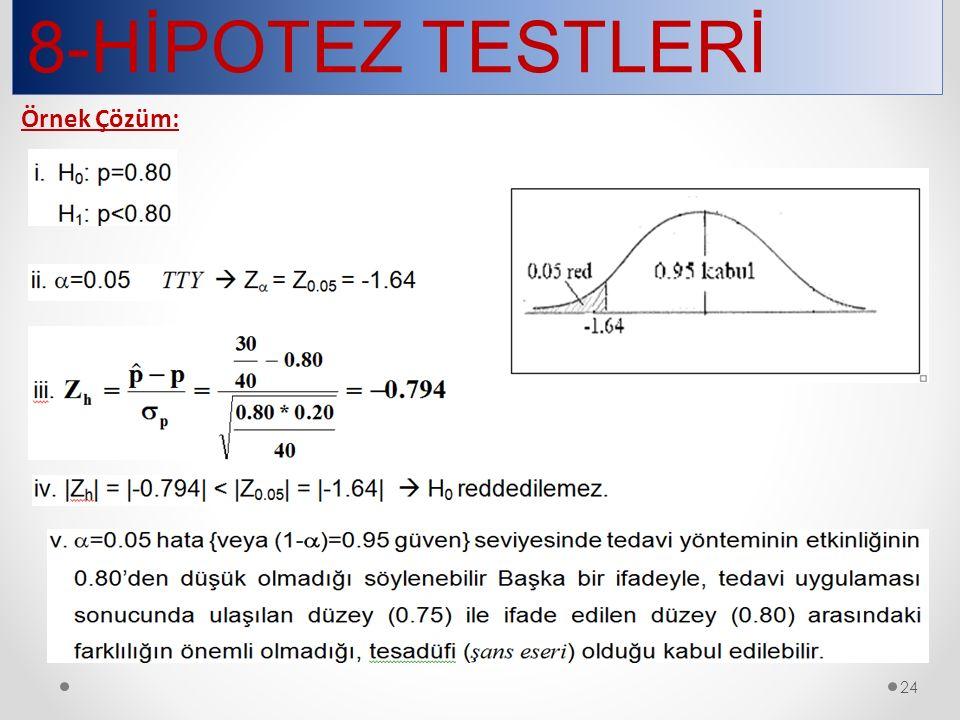 8-HİPOTEZ TESTLERİ 24 Örnek Çözüm: