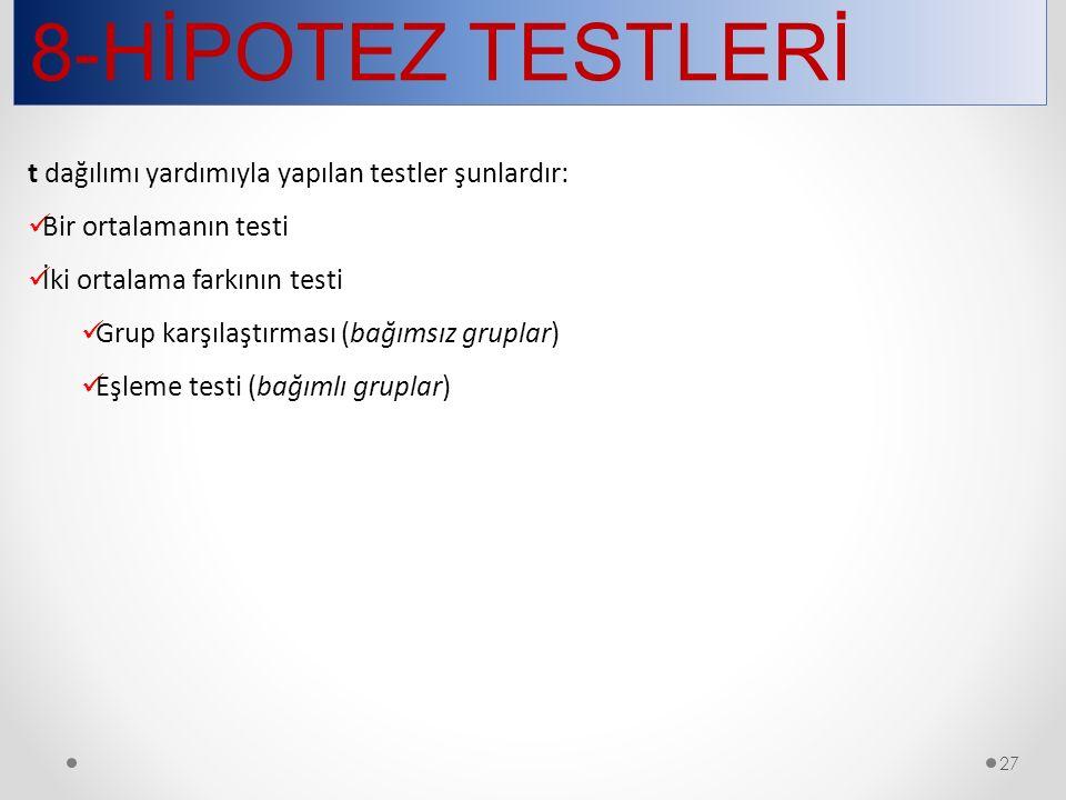 8-HİPOTEZ TESTLERİ 27 t dağılımı yardımıyla yapılan testler şunlardır: Bir ortalamanın testi İki ortalama farkının testi Grup karşılaştırması (bağımsı