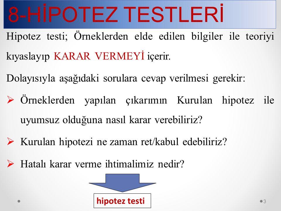 8-HİPOTEZ TESTLERİ 44 Varyansla ilgili testlerin yanısıra sayımla belirlenen kalitatif (niteliksel) karakteristiklerle ilgili testlerde genellikle  2 dağılımı kullanılmaktadır.