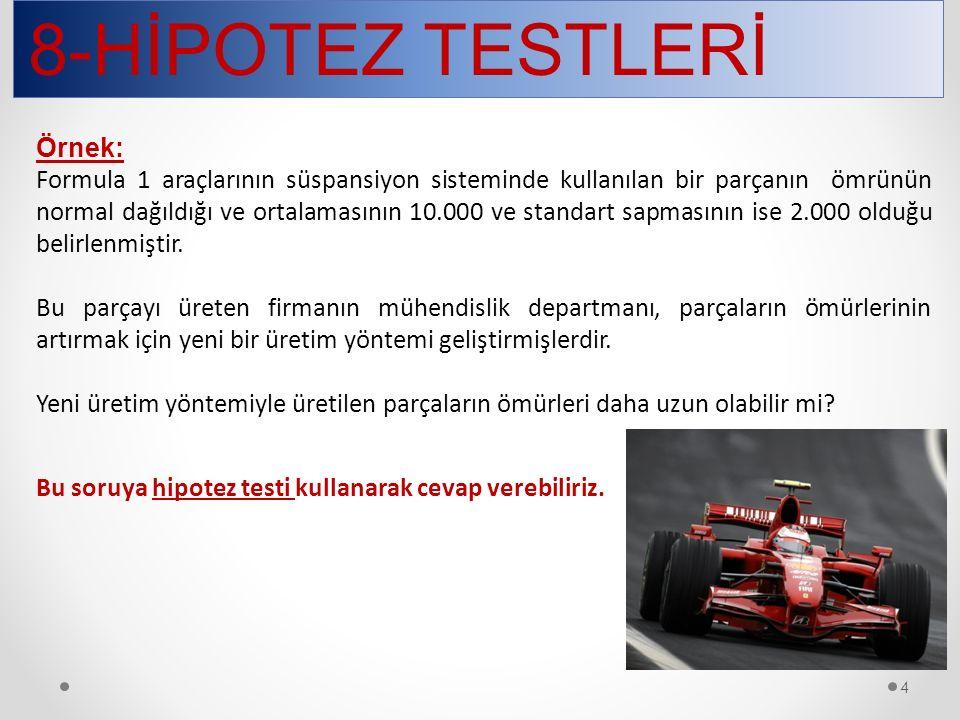 8-HİPOTEZ TESTLERİ 4 Örnek: Formula 1 araçlarının süspansiyon sisteminde kullanılan bir parçanın ömrünün normal dağıldığı ve ortalamasının 10.000 ve s