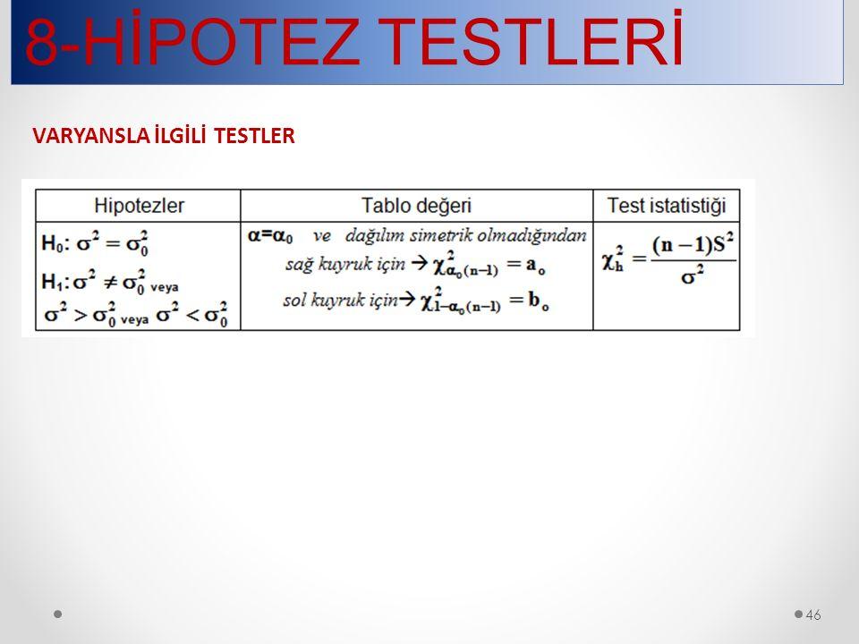 8-HİPOTEZ TESTLERİ 46 VARYANSLA İLGİLİ TESTLER