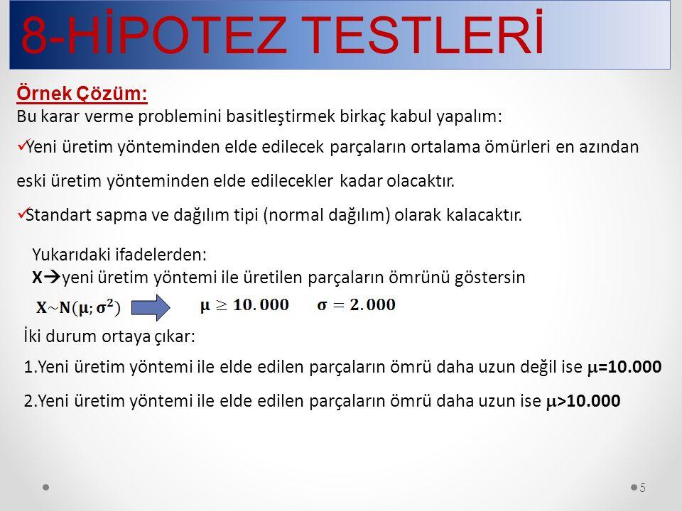 8-HİPOTEZ TESTLERİ 16 3.