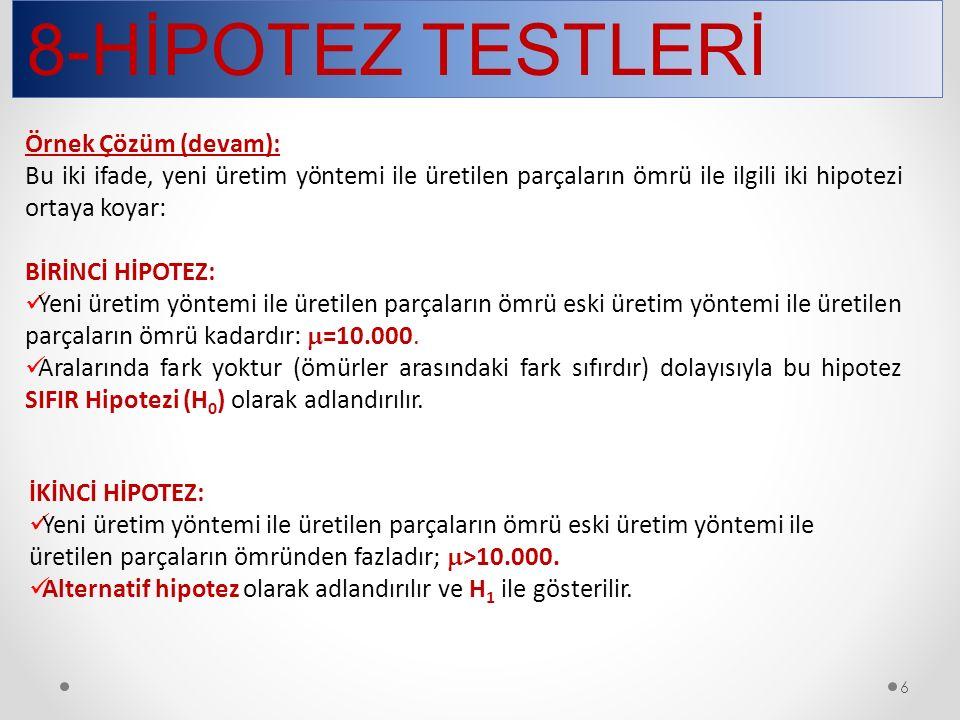 8-HİPOTEZ TESTLERİ 27 t dağılımı yardımıyla yapılan testler şunlardır: Bir ortalamanın testi İki ortalama farkının testi Grup karşılaştırması (bağımsız gruplar) Eşleme testi (bağımlı gruplar)