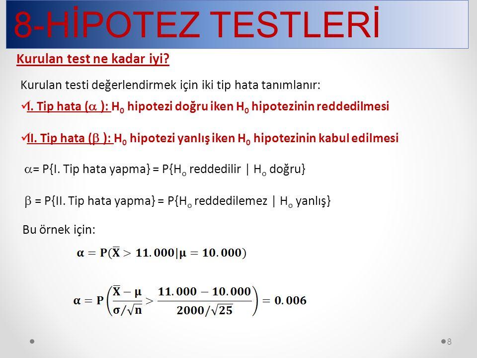 8-HİPOTEZ TESTLERİ 8 Kurulan test ne kadar iyi? Kurulan testi değerlendirmek için iki tip hata tanımlanır: I. Tip hata (  ) : H 0 hipotezi doğru iken