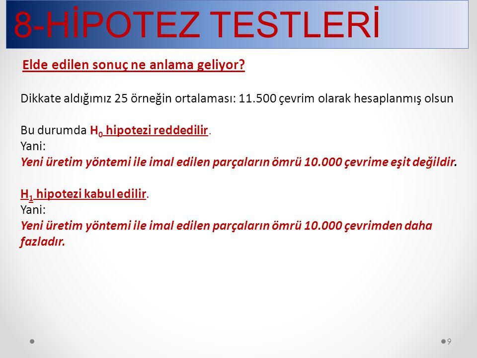8-HİPOTEZ TESTLERİ 50 UYGUNLUK (UYUM) TESTİ Örnek: Bir zar 120 defa atılmış ve gelen değerler aşağıda verilmiştir.