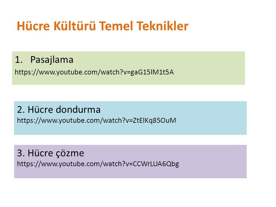 Hücre Kültürü Temel Teknikler 1.Pasajlama https://www.youtube.com/watch?v=gaG15lM1t5A 2. Hücre dondurma https://www.youtube.com/watch?v=ZtElKq85OuM 3.