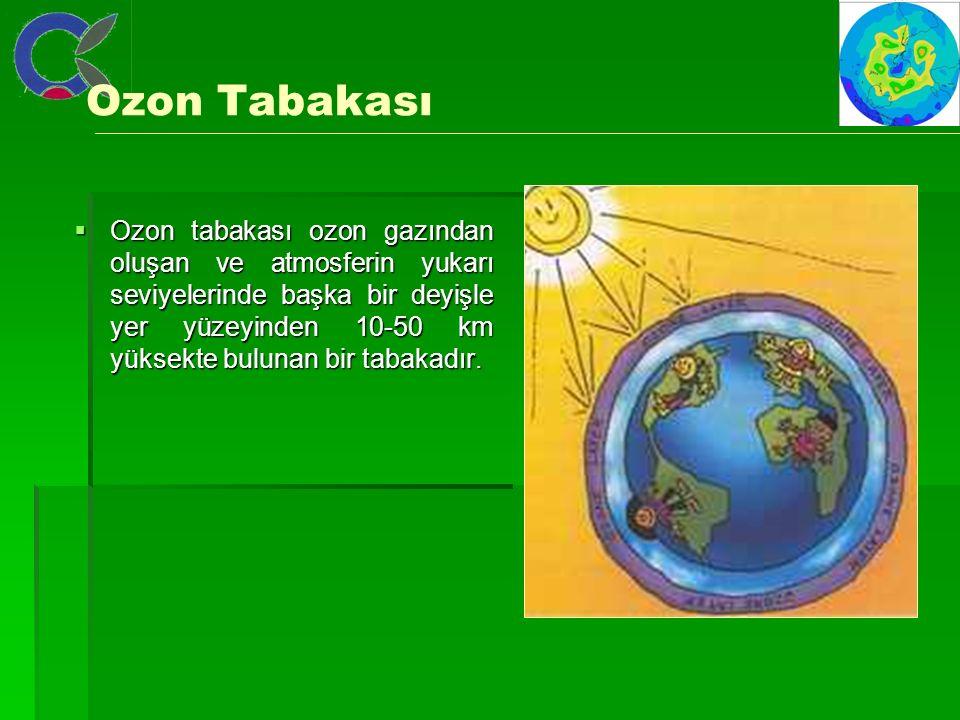Ozon Tabakası  Ozon tabakası ozon gazından oluşan ve atmosferin yukarı seviyelerinde başka bir deyişle yer yüzeyinden 10-50 km yüksekte bulunan bir tabakadır.