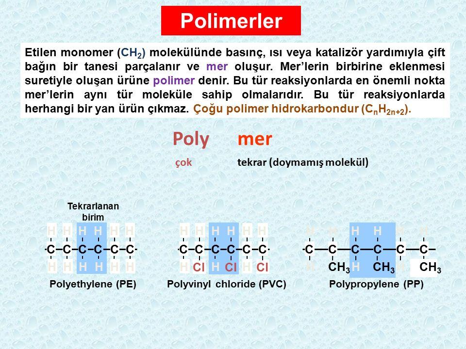 CCCCCC HHHHHH HHHHHH Polyethylene (PE) Cl CCCCCC HHH HHHHHH Polyvinyl chloride (PVC) HH HHHH Polypropylene (PP) CCCCCC CH 3 HH H Tekrarlanan birim Pol