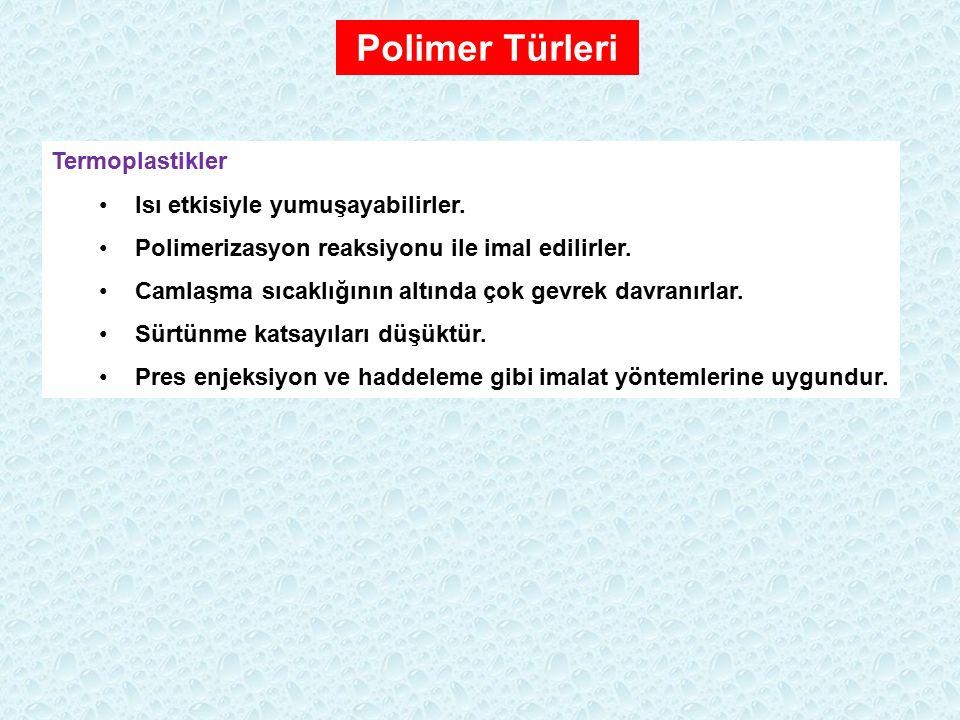 Polimer Türleri Termoplastikler Isı etkisiyle yumuşayabilirler. Polimerizasyon reaksiyonu ile imal edilirler. Camlaşma sıcaklığının altında çok gevrek
