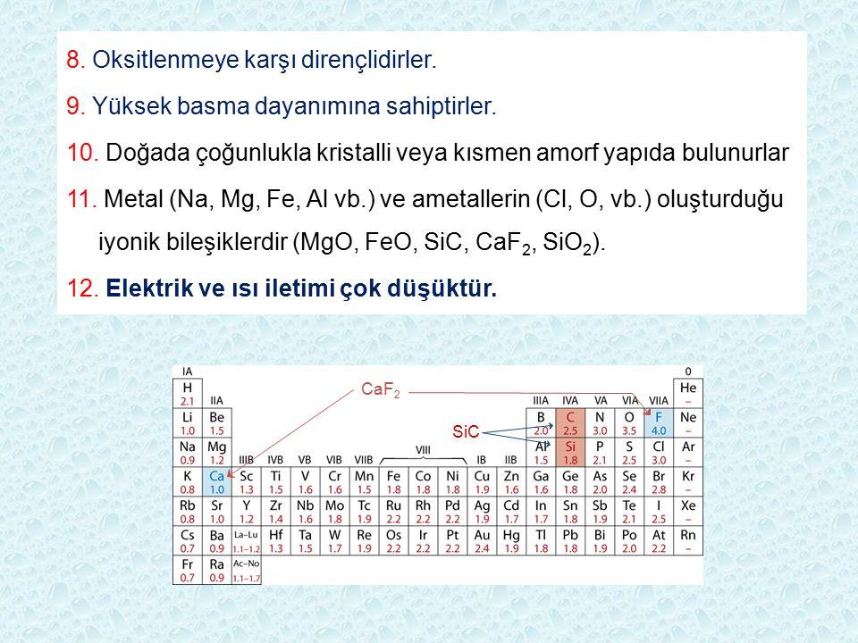 SiC CaF 2 8. Oksitlenmeye karşı dirençlidirler. 9. Yüksek basma dayanımına sahiptirler. 10. Doğada çoğunlukla kristalli veya kısmen amorf yapıda bulun
