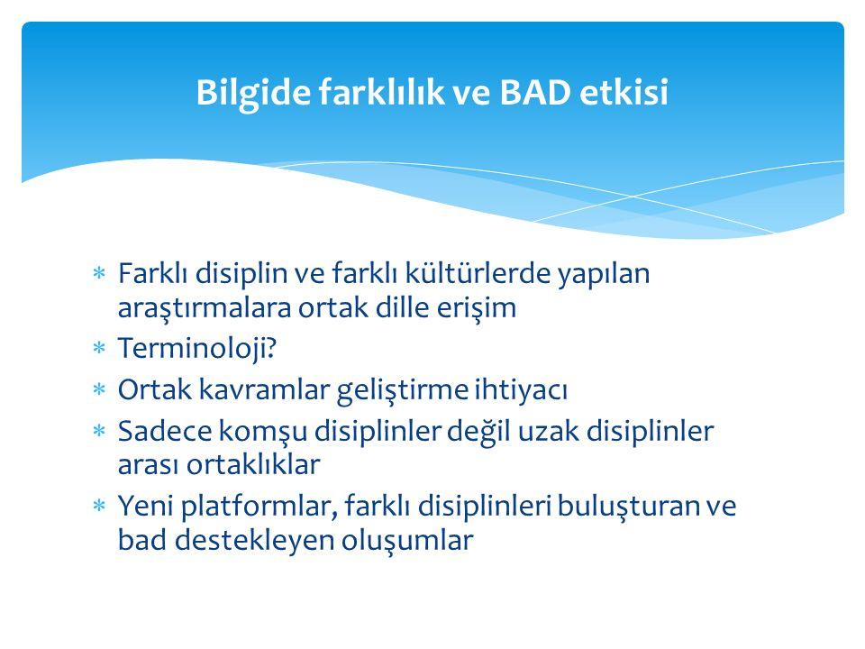 Farklı disiplin ve farklı kültürlerde yapılan araştırmalara ortak dille erişim  Terminoloji.