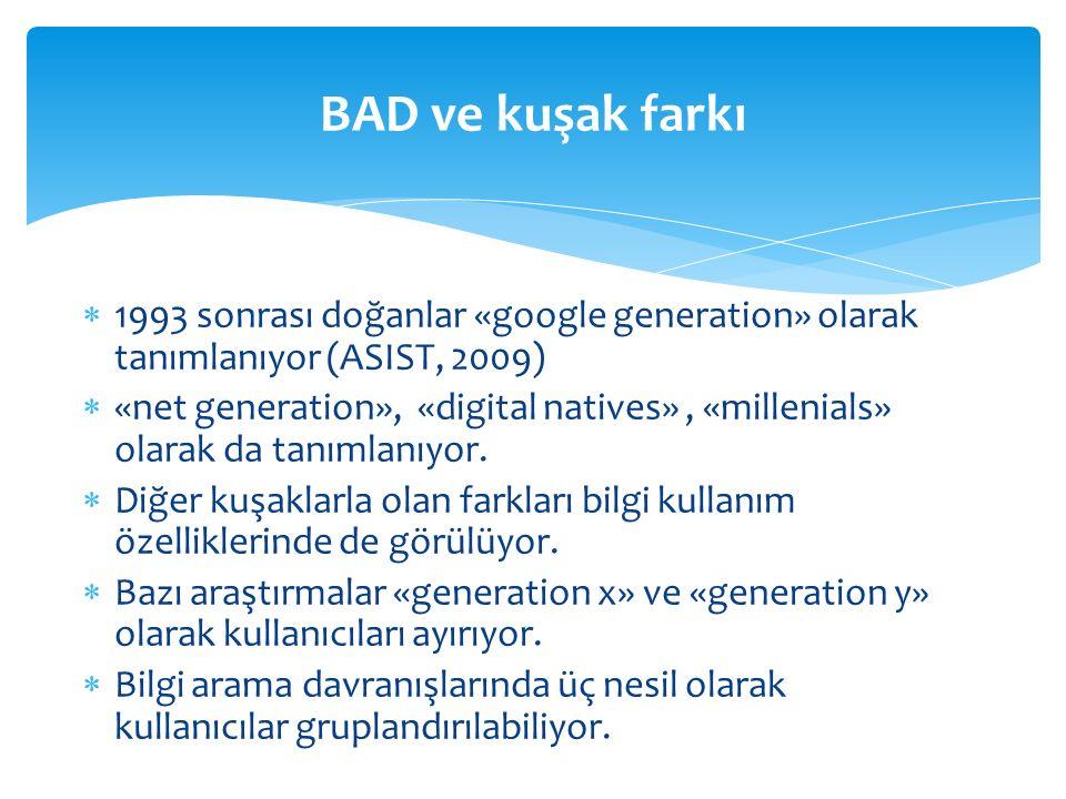  1993 sonrası doğanlar «google generation» olarak tanımlanıyor (ASIST, 2009)  «net generation», «digital natives», «millenials» olarak da tanımlanıyor.