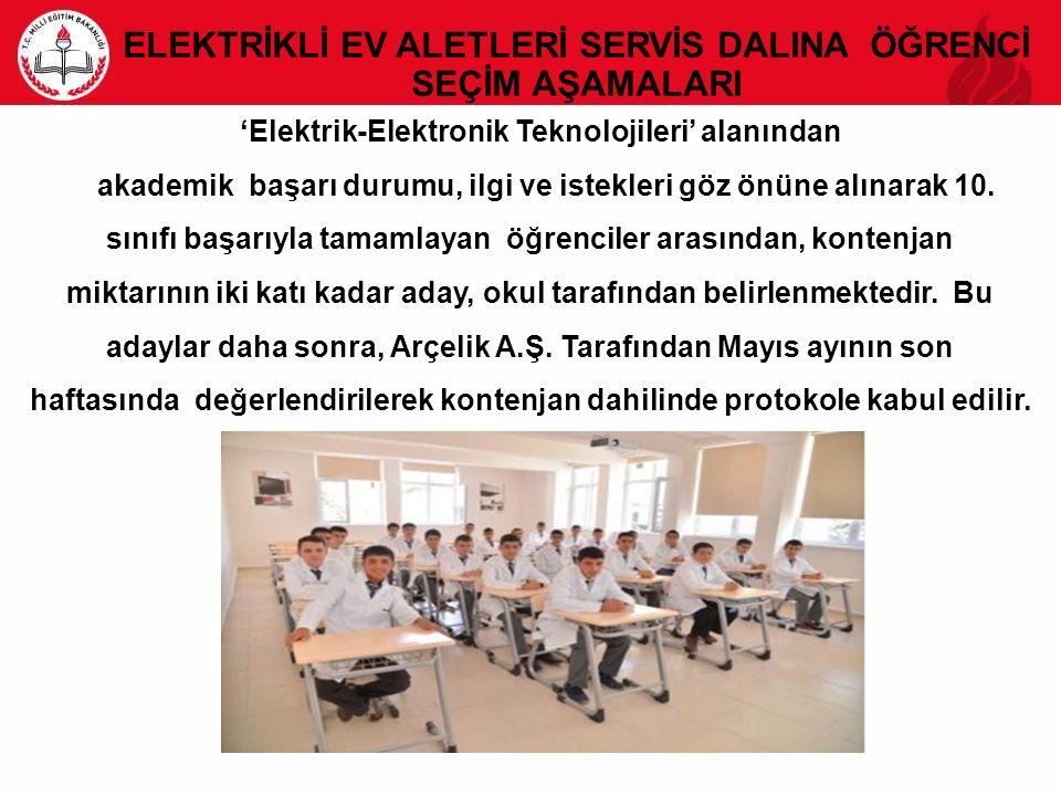 'Elektrik-Elektronik Teknolojileri' alanından akademik başarı durumu, ilgi ve istekleri göz önüne alınarak 10.