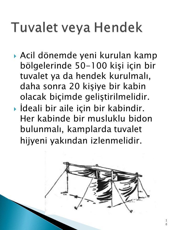  Acil dönemde yeni kurulan kamp bölgelerinde 50-100 kişi için bir tuvalet ya da hendek kurulmalı, daha sonra 20 kişiye bir kabin olacak biçimde geliştirilmelidir.