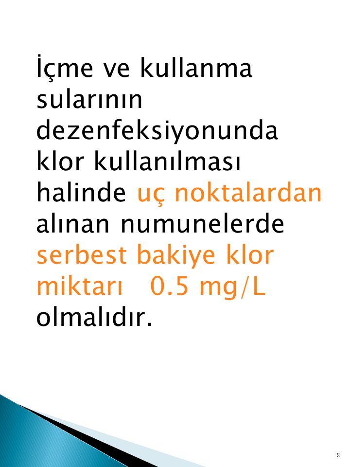 İçme ve kullanma sularının dezenfeksiyonunda klor kullanılması halinde uç noktalardan alınan numunelerde serbest bakiye klor miktarı 0.5 mg/L olmalıdır.