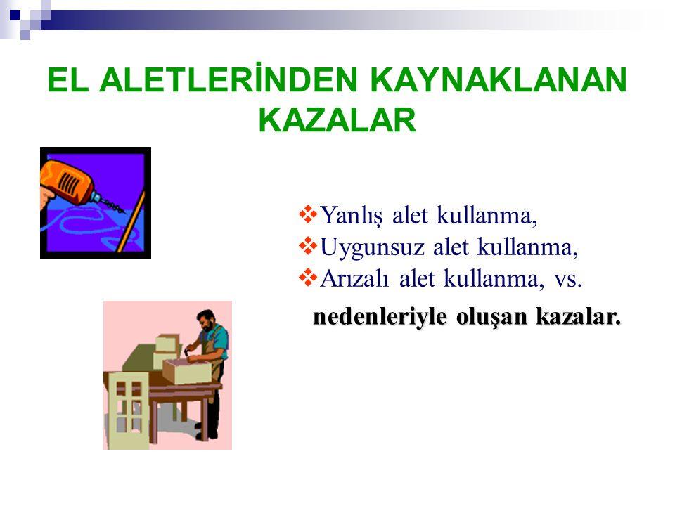 EL ALETLERİNDEN KAYNAKLANAN KAZALAR nedenleriyle oluşan kazalar.  Yanlış alet kullanma,  Uygunsuz alet kullanma,  Arızalı alet kullanma, vs.