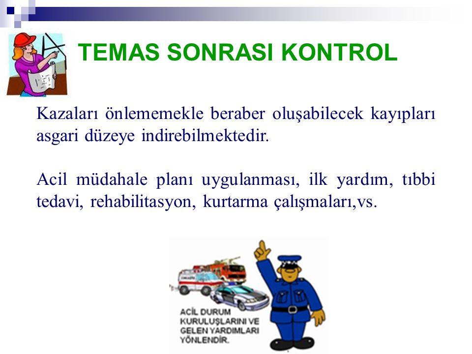 TEMAS SONRASI KONTROL Kazaları önlememekle beraber oluşabilecek kayıpları asgari düzeye indirebilmektedir.