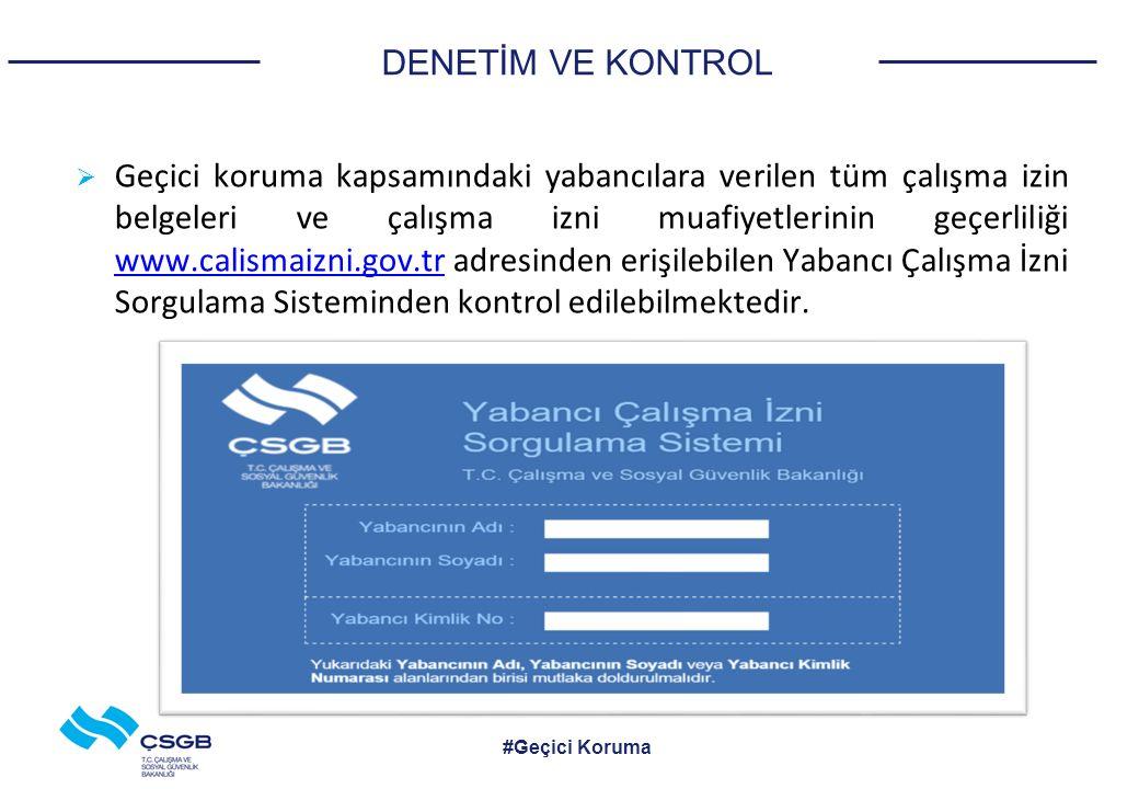 DENETİM VE KONTROL  Geçici koruma kapsamındaki yabancılara verilen tüm çalışma izin belgeleri ve çalışma izni muafiyetlerinin geçerliliği www.calismaizni.gov.tr adresinden erişilebilen Yabancı Çalışma İzni Sorgulama Sisteminden kontrol edilebilmektedir.