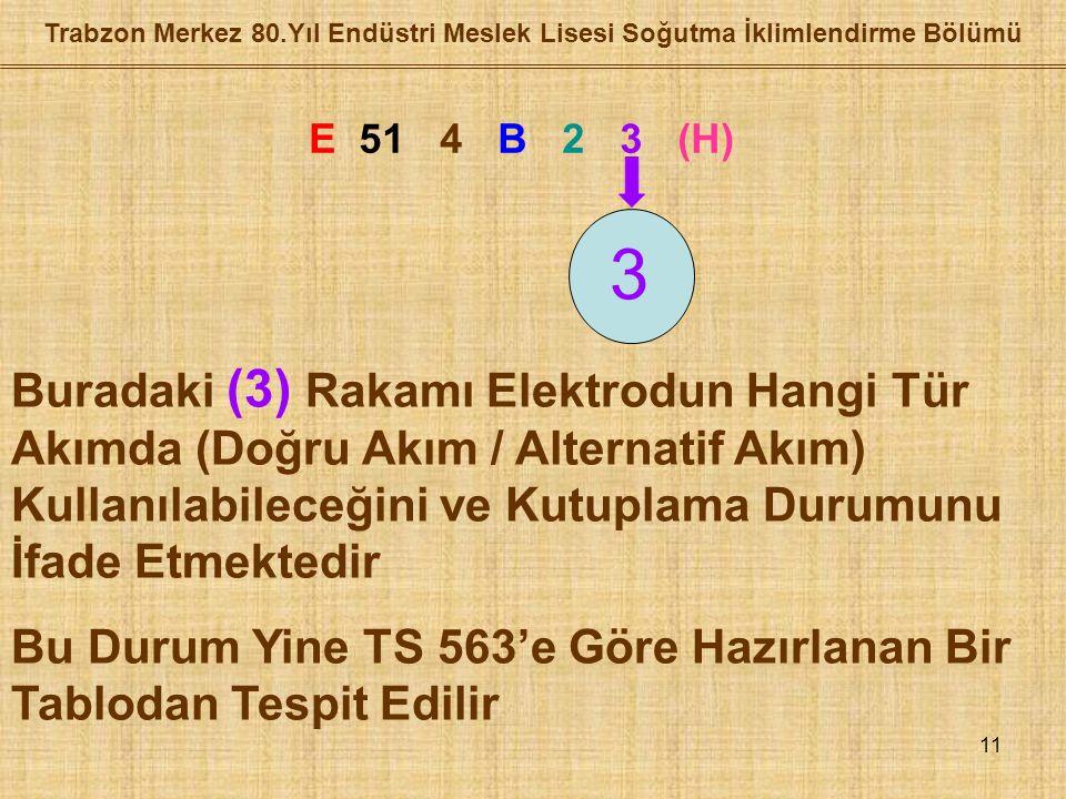 11 Trabzon Merkez 80.Yıl Endüstri Meslek Lisesi Soğutma İklimlendirme Bölümü E 51 4 B 2 3 (H) 3 Buradaki (3) Rakamı Elektrodun Hangi Tür Akımda (Doğru Akım / Alternatif Akım) Kullanılabileceğini ve Kutuplama Durumunu İfade Etmektedir Bu Durum Yine TS 563'e Göre Hazırlanan Bir Tablodan Tespit Edilir