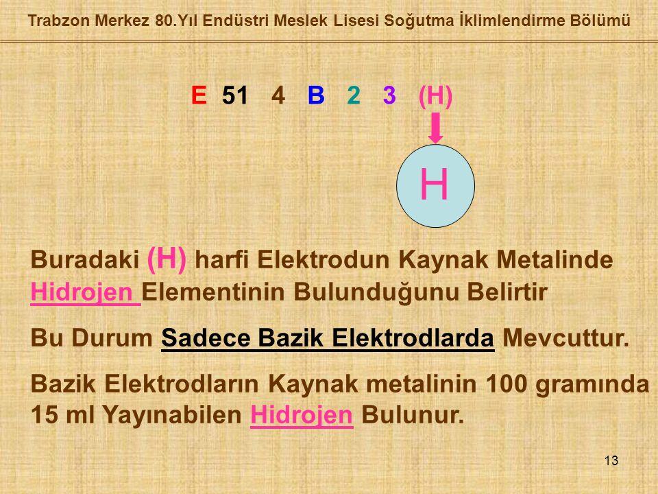 13 Trabzon Merkez 80.Yıl Endüstri Meslek Lisesi Soğutma İklimlendirme Bölümü E 51 4 B 2 3 (H) H Buradaki (H) harfi Elektrodun Kaynak Metalinde Hidrojen Elementinin Bulunduğunu Belirtir Bu Durum Sadece Bazik Elektrodlarda Mevcuttur.