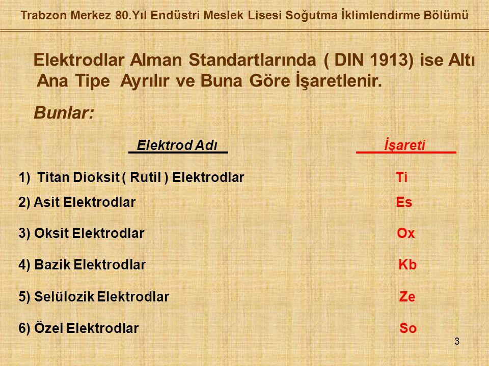 3 Elektrodlar Alman Standartlarında ( DIN 1913) ise Altı Ana Tipe Ayrılır ve Buna Göre İşaretlenir.