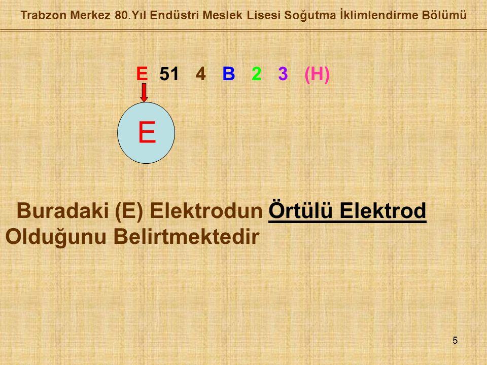 5 E 51 4 B 2 3 (H) Buradaki (E) Elektrodun Örtülü Elektrod Olduğunu Belirtmektedir E
