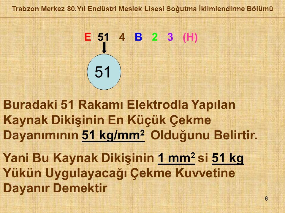 6 E 51 4 B 2 3 (H) 51 Buradaki 51 Rakamı Elektrodla Yapılan Kaynak Dikişinin En Küçük Çekme Dayanımının 51 kg/mm 2 Olduğunu Belirtir.