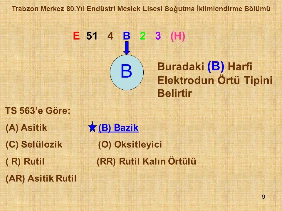 9 Trabzon Merkez 80.Yıl Endüstri Meslek Lisesi Soğutma İklimlendirme Bölümü E 51 4 B 2 3 (H) B Buradaki (B) Harfi Elektrodun Örtü Tipini Belirtir TS 563'e Göre: (A) Asitik (B) Bazik (C) Selülozik (O) Oksitleyici ( R) Rutil (RR) Rutil Kalın Örtülü (AR) Asitik Rutil