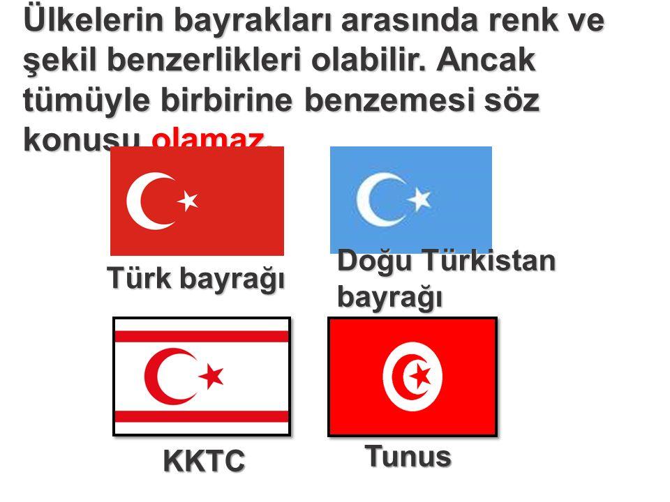 Ülkelerin bayrakları arasında renk ve şekil benzerlikleri olabilir.
