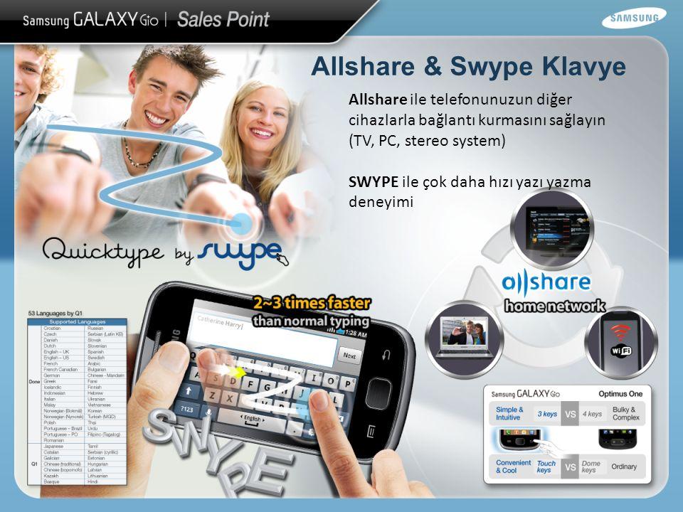 Allshare & Swype Klavye Allshare ile telefonunuzun diğer cihazlarla bağlantı kurmasını sağlayın (TV, PC, stereo system) SWYPE ile çok daha hızı yazı yazma deneyimi
