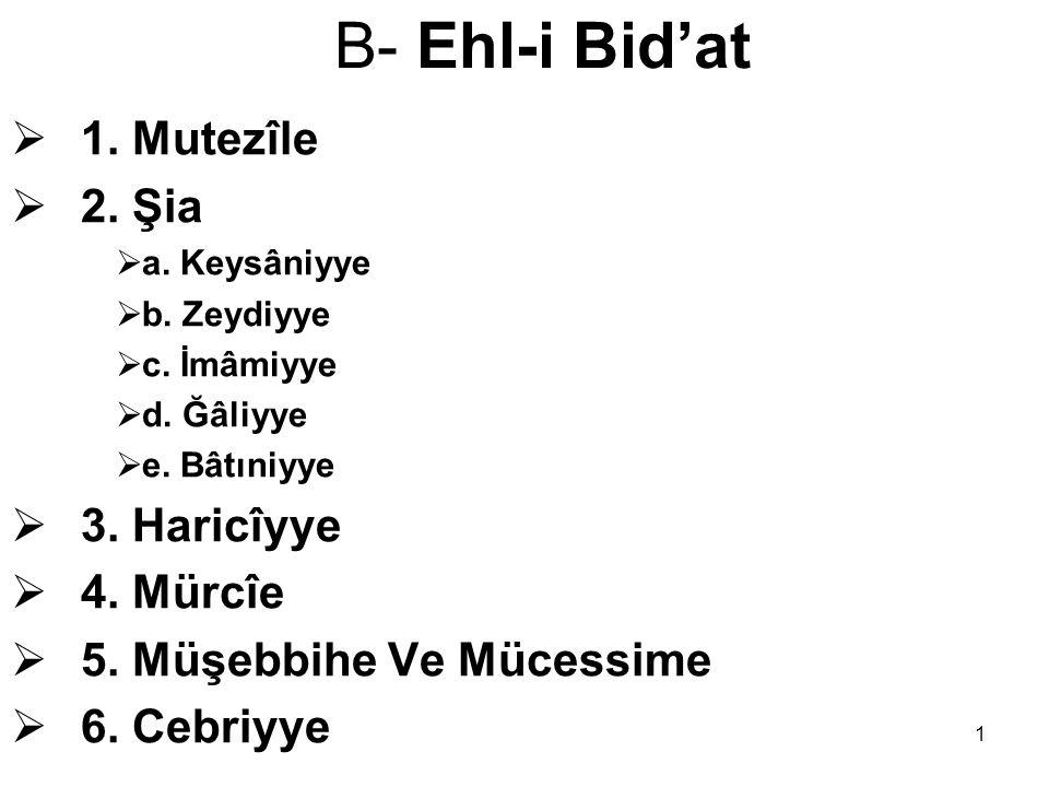 1 B- Ehl-i Bid'at  1. Mutezîle  2. Şia  a. Keysâniyye  b. Zeydiyye  c. İmâmiyye  d. Ğâliyye  e. Bâtıniyye  3. Haricîyye  4. Mürcîe  5. Müşeb