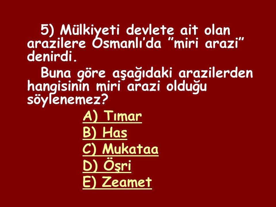 4) Öşür: Müslümanlardan alınan 1/10 oranındaki gelir vergisi Haraç: Müslüman olmayanlardan alınan 1/5 oranındaki gelir vergisi Buna göre Osmanlı'da vergi miktarının belirlenmesinde aşağıdakilerden hangisi etkili olmuştur.