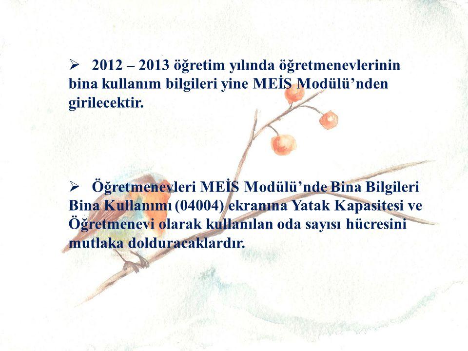   2012 – 2013 öğretim yılında öğretmenevlerinin bina kullanım bilgileri yine MEİS Modülü'nden girilecektir.
