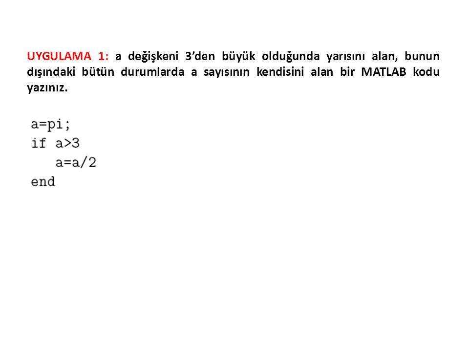 UYGULAMA 1: a değişkeni 3'den büyük olduğunda yarısını alan, bunun dışındaki bütün durumlarda a sayısının kendisini alan bir MATLAB kodu yazınız.