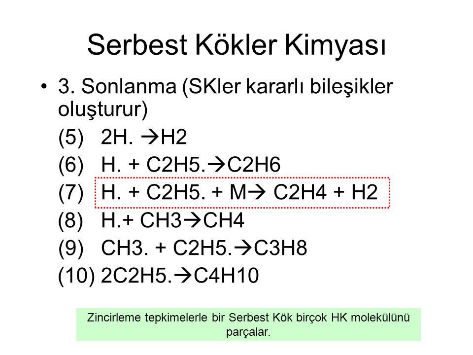 Serbest Kökler Kimyası 3.Sonlanma (SKler kararlı bileşikler oluşturur) (5) 2H.