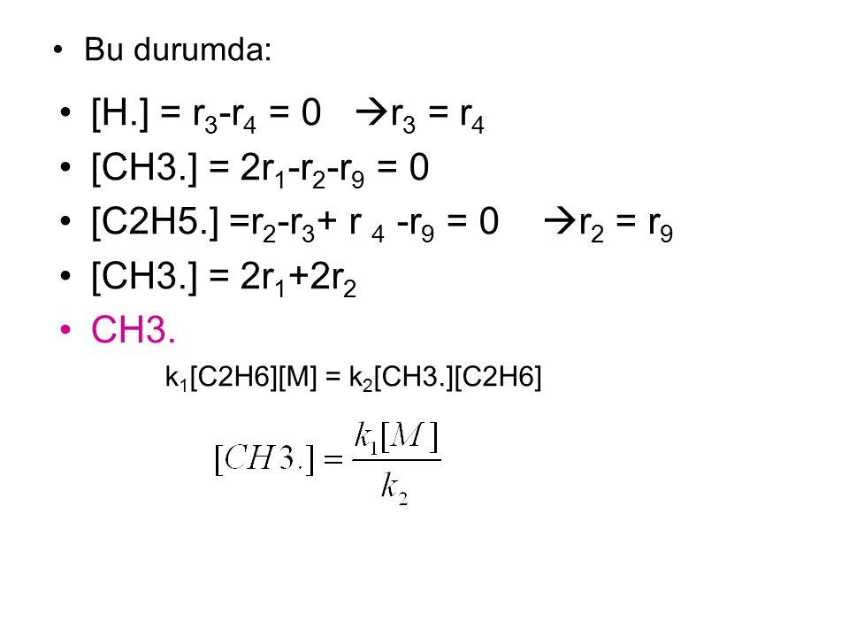 Bu durumda: [H.] = r 3 -r 4 = 0  r 3 = r 4 [CH3.] = 2r 1 -r 2 -r 9 = 0 [C2H5.] =r 2 -r 3 + r 4 -r 9 = 0  r 2 = r 9 [CH3.] = 2r 1 +2r 2 CH3.