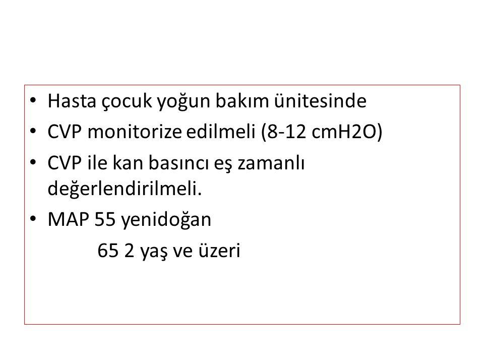 Hasta çocuk yoğun bakım ünitesinde CVP monitorize edilmeli (8-12 cmH2O) CVP ile kan basıncı eş zamanlı değerlendirilmeli.